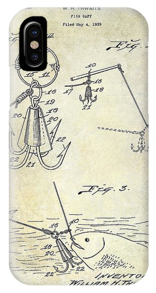1940 Fishing Gaff Patent Drawing IPhone Case