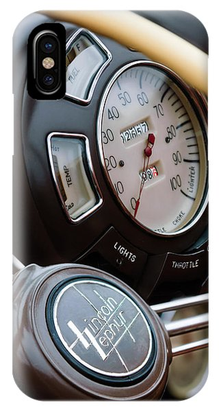 Lincoln Continental iPhone Case - 1938 Lincoln-zephyr Continental Cabriolet Steering Wheel Emblem -1817c by Jill Reger
