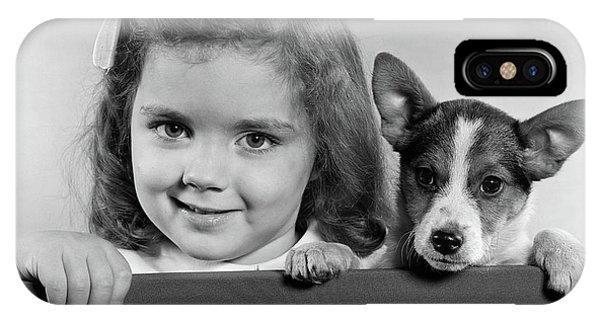 1940s 1950s Portrait Of Little Girl IPhone Case