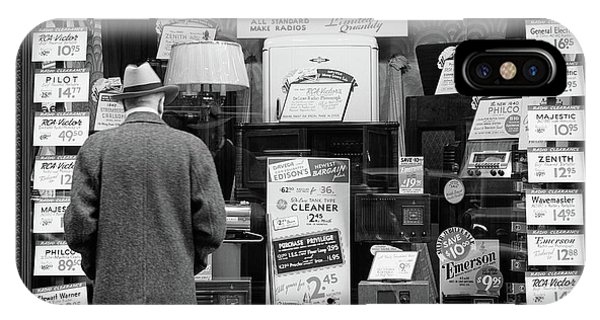 Window Shopping iPhone Case - 1940s Man Looking At Window Display by Vintage Images