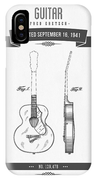 Guitar iPhone Case - 1941 Guitar Patent Drawing by Aged Pixel