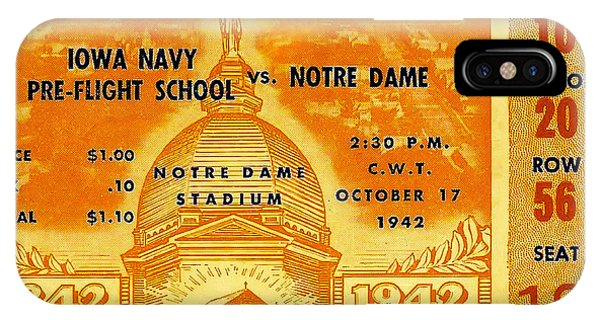 1942 Football Ticket Notre Dame Vs Iowa Navy Pre-flight IPhone Case