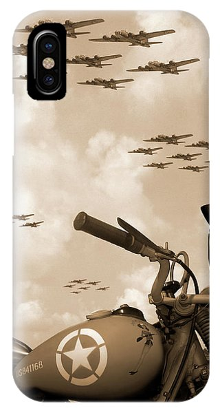 Bicycle iPhone X Case - 1942 Indian 841 - B-17 Flying Fortress' by Mike McGlothlen