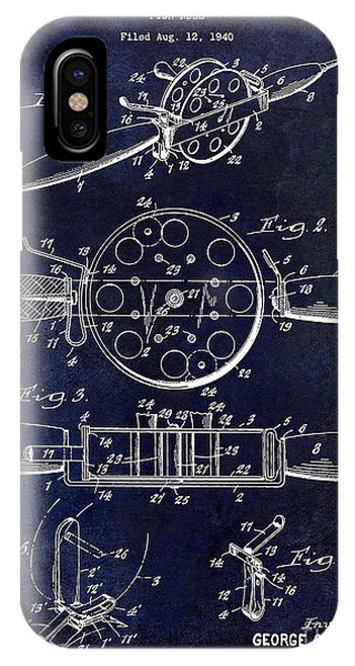 1943 Fishing Reel Patent Drawing Blue IPhone Case