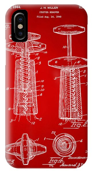 Patent Office iPhone Case - 1944 Wine Corkscrew Patent Artwork - Red by Nikki Marie Smith