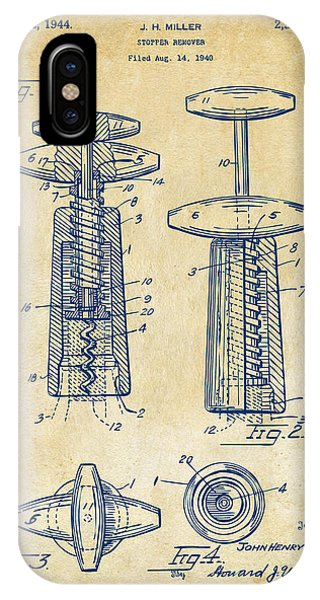 Patent Office iPhone Case - 1944 Wine Corkscrew Patent Artwork - Vintage by Nikki Marie Smith