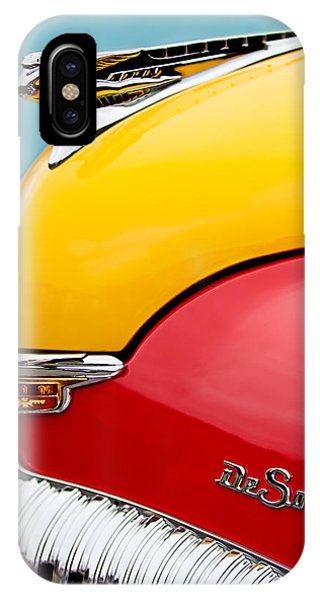 Auto Show iPhone Case - 1946 Desoto Skyview Taxi Cab Hood Ornament by Jill Reger