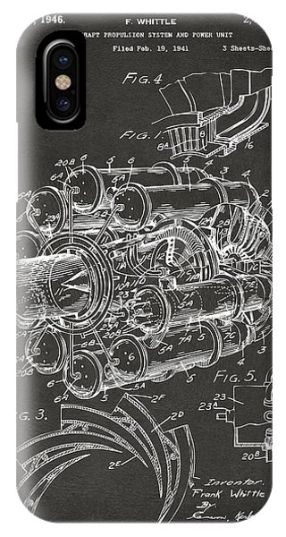 Manly iPhone Case - 1946 Jet Aircraft Propulsion Patent Artwork - Gray by Nikki Marie Smith