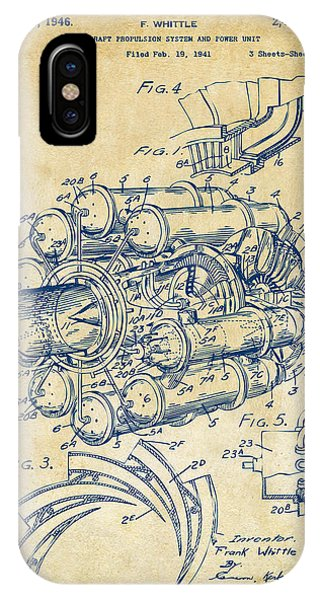 Manly iPhone Case - 1946 Jet Aircraft Propulsion Patent Artwork - Vintage by Nikki Marie Smith