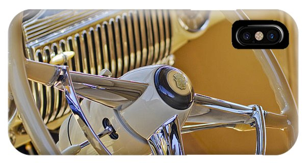 Coupe iPhone Case - 1947 Cadillac 62 Steering Wheel by Jill Reger
