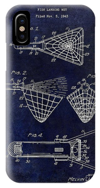 1947 Fishing Net Patent Drawing Blue IPhone Case