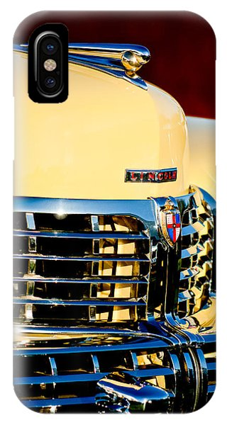 Lincoln Continental iPhone Case - 1948 Lincoln Continental Cabriolet Grille Emblem - Hood Ornament -0938c by Jill Reger