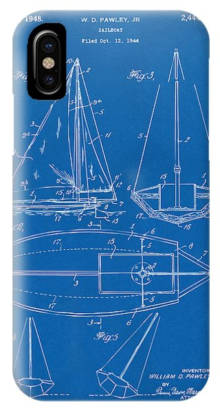 1948 Sailboat Patent Artwork - Blueprint IPhone Case