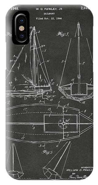 1948 Sailboat Patent Artwork - Gray IPhone Case