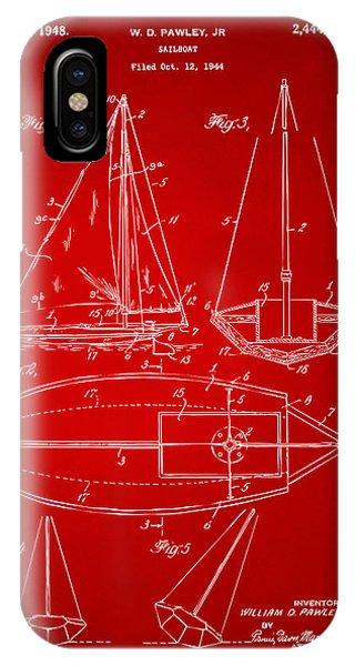 1948 Sailboat Patent Artwork - Red IPhone Case