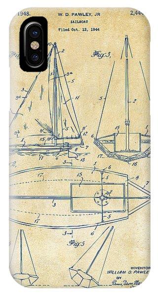 1948 Sailboat Patent Artwork - Vintage IPhone Case
