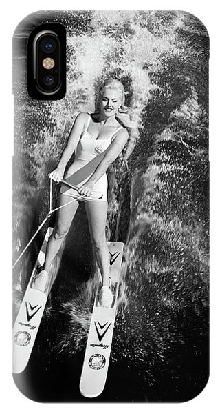 Water Ski iPhone Case - 1950s 1960s High Angle View Smiling by Vintage Images