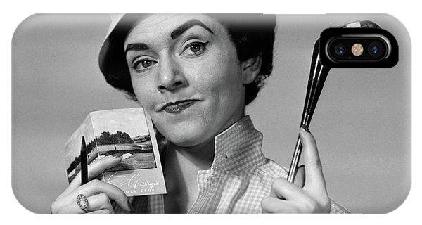 1950s 1960s Portrait Woman In Hat IPhone Case