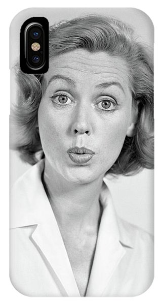 1950s 1960s Portrait Woman With Shocked IPhone Case