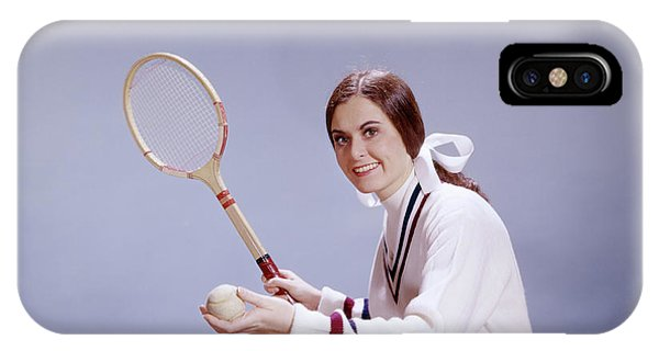Racquet iPhone Case - 1950s 1960s Smiling Teenage Woman by Vintage Images