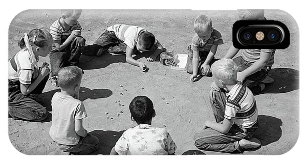 Aggie iPhone Case - 1950s Boys & Girls Shooting Marbles by Vintage Images