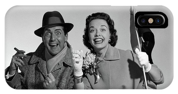 1950s Couple Portrait In Coats Rooting IPhone Case