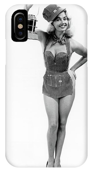 Railroad Signal iPhone Case - 1950s Full Length Portrait Of Blond by Vintage Images