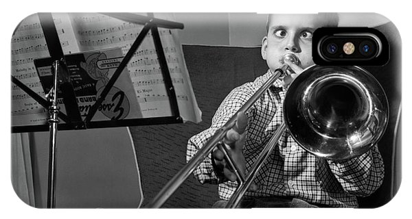 Trombone iPhone X Case - 1950s Funny Cross-eyed Boy Playing by Vintage Images