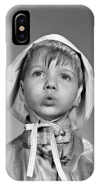 1950s Portrait Boy Wearing Rain Hat IPhone Case