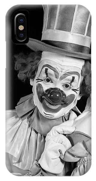 1950s Portrait Of Clown Wearing Top Hat IPhone Case