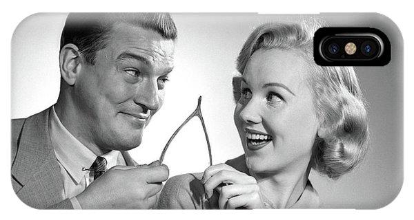 1950s Portrait Of Couple Holding IPhone Case