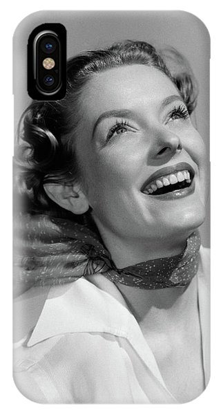 1950s Smiling Portrait Woman With Head IPhone Case
