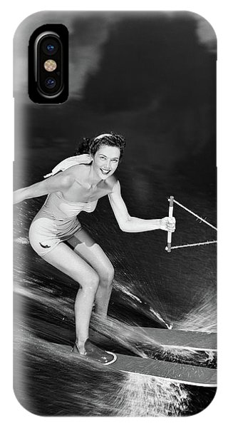 Water Ski iPhone Case - 1950s Smiling Woman In A White Two by Vintage Images