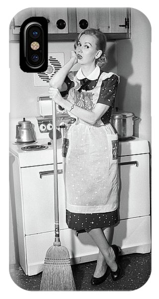 1950s Tired Housewife In Apron Standing IPhone Case
