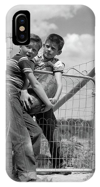 1950s Two Farm Boys In Striped T-shirts IPhone Case