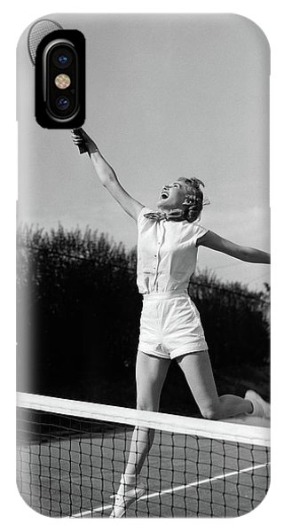 Racquet iPhone Case - 1950s Woman Jumping To Hit Tennis Ball by Vintage Images