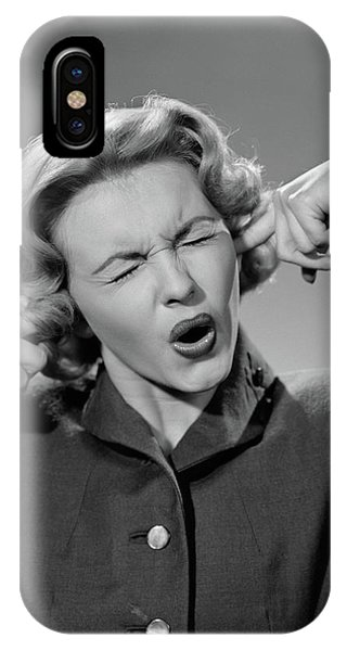 1950s Woman Portrait Fingers Plugging IPhone Case