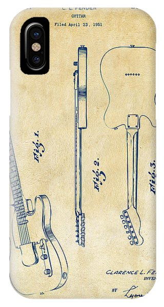 Electric Guitar iPhone Case - 1951 Fender Electric Guitar Patent Artwork - Vintage by Nikki Marie Smith