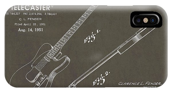 Vintage iPhone Case - 1951 Fender Telecaster Guitar Patent Art In White Chalk On Gray  by Nishanth Gopinathan