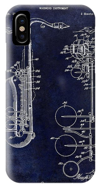 1951 Saxophone Patent Drawing Blue IPhone Case