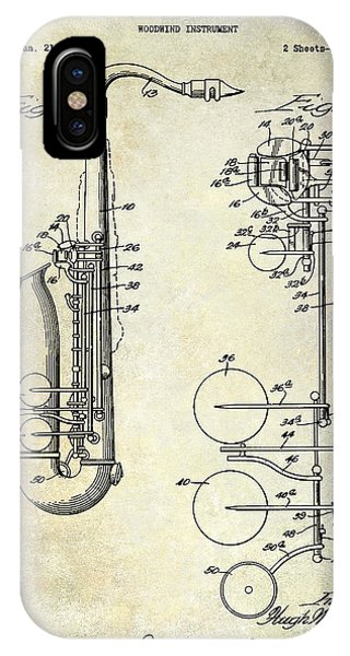 1951 Saxophone Patent Drawing IPhone Case
