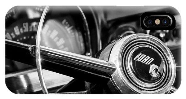 Wagon Wheel iPhone Case - 1952 Ford Wagon Steering Wheel Emblem -0187bw by Jill Reger