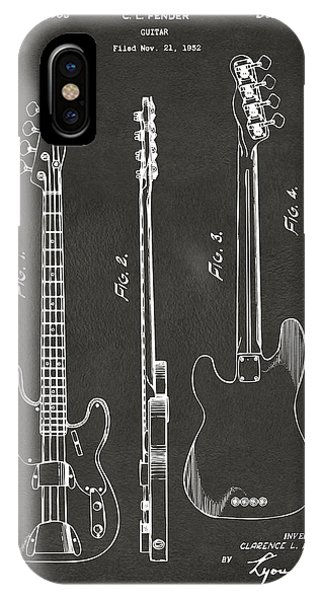 Guitar iPhone Case - 1953 Fender Bass Guitar Patent Artwork - Gray by Nikki Marie Smith