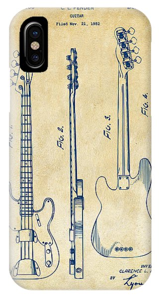 1953 Fender Bass Guitar Patent Artwork - Vintage IPhone Case