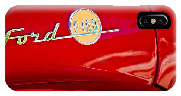 100 iPhone Case - 1955 Ford F-100 Pickup Truck Side Emblem -3515c by Jill Reger