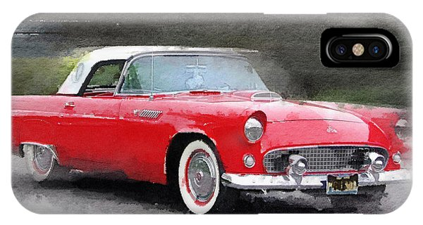 Car iPhone Case - 1955 Ford Thunderbird Watercolor by Naxart Studio