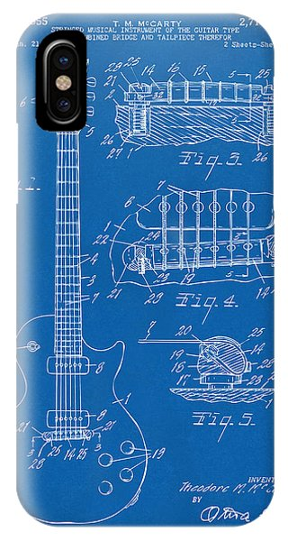 1955 Mccarty Gibson Les Paul Guitar Patent Artwork Blueprint IPhone Case