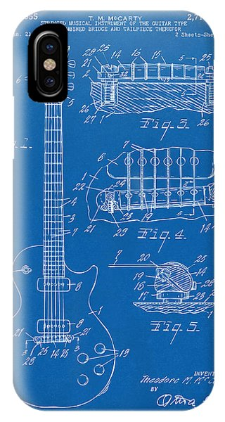 IPhone Case featuring the digital art 1955 Mccarty Gibson Les Paul Guitar Patent Artwork Blueprint by Nikki Marie Smith