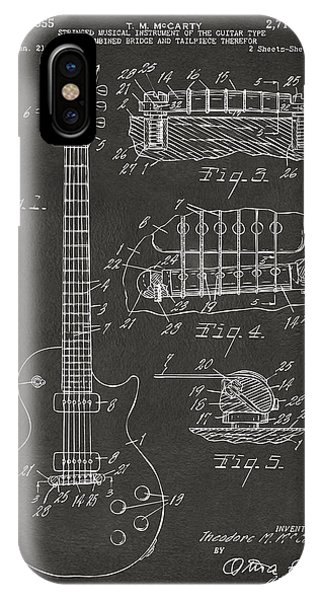 1955 Mccarty Gibson Les Paul Guitar Patent Artwork - Gray IPhone Case