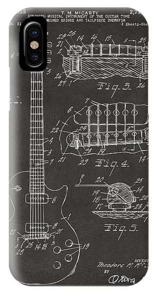 Electric Guitar iPhone Case - 1955 Mccarty Gibson Les Paul Guitar Patent Artwork - Gray by Nikki Marie Smith